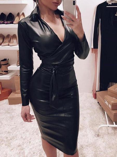 Milanoo Sexy Bodycon Dresses Leather Like V Neck Long Sleeves Pencil Dress