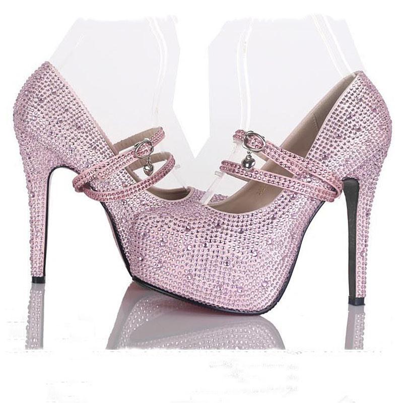 Amazing Sparkle Pearls Platform Stiletto Heels Prom Shoes