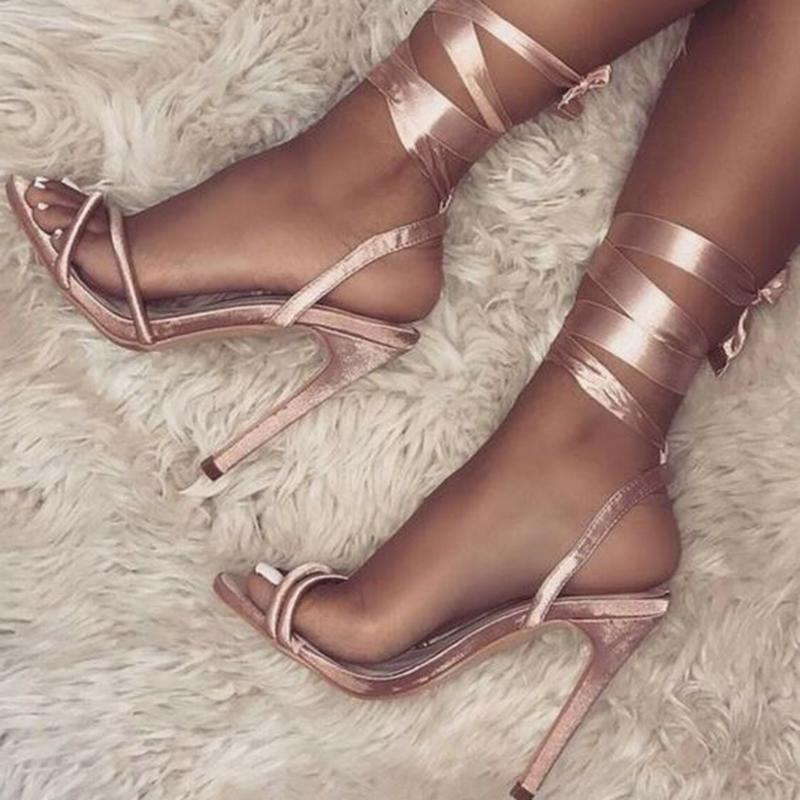 Ericdress Open Toe Lace-Up Stiletto Heel Sandals