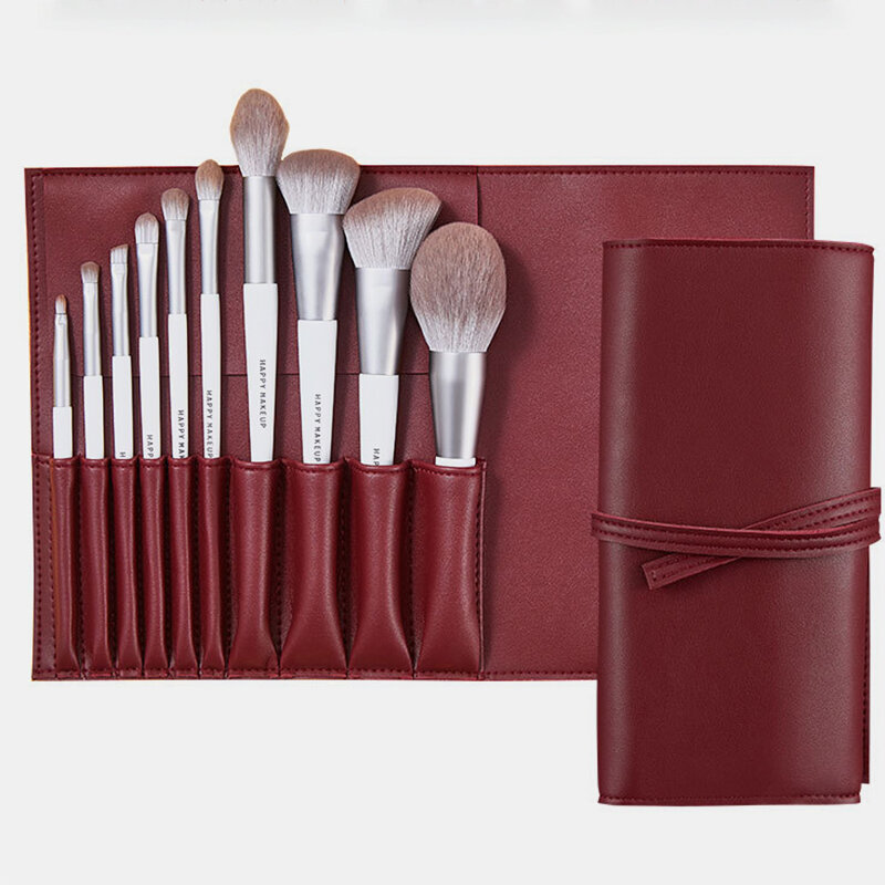 Portable Facial Makeup Brush Set Highlight Bronzer Brush Fluffy Loose Powder Brush PU Brush Bag