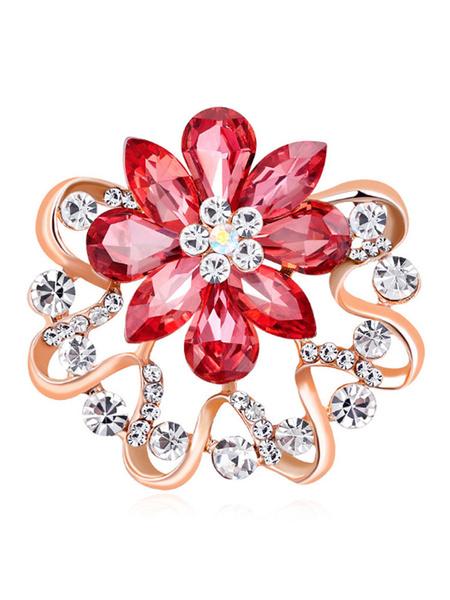 Milanoo Chic Brooches Flower Alloy Rhinestone Wedding Brooches