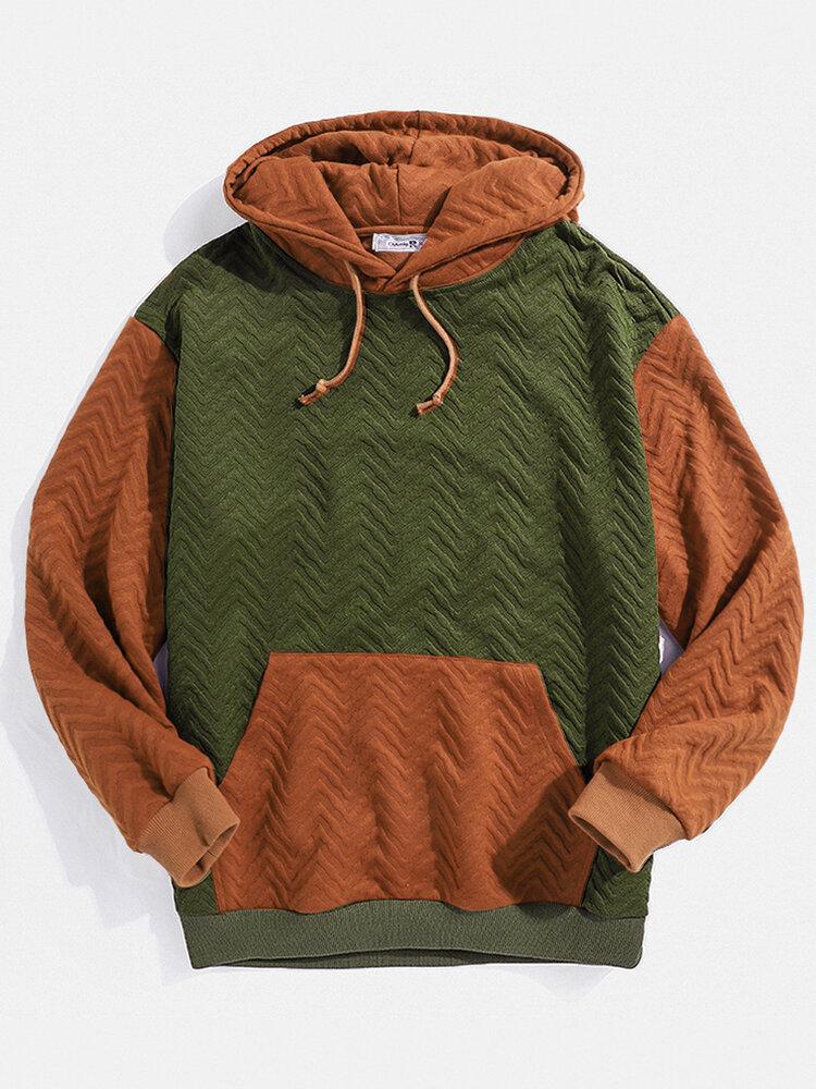 Mens Knitting Contrast Patchwork Casual Relaxed Kangaroo Pocket Drawstring Hoodies