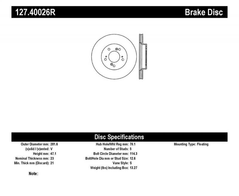 StopTech 127.40026R Sport Drilled/Slotted Brake Rotor; Front Right Front Right