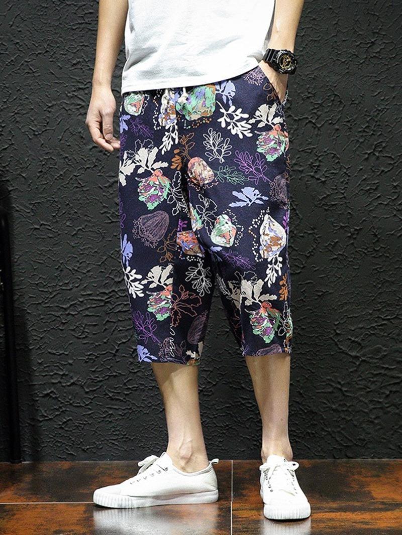 Ericdress Floral Print Thin Summer Mid Waist Casual Pants