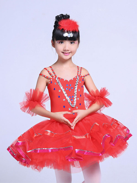 Milanoo Ballet Dance Costume Yellow Sequin Beading Girls Tutu Ballerina Dress