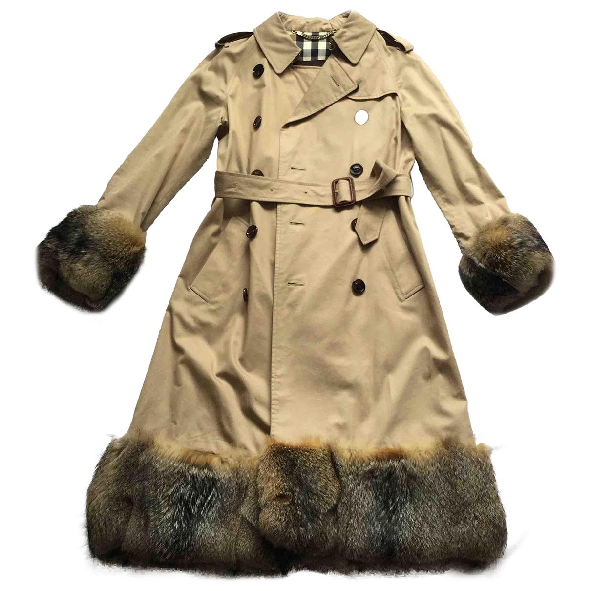 Burberry \N Ecru Fur coat for Women 10 UK