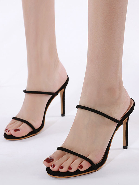 Milanoo High Heels Mules Square Toe Stiletto Heel Chic Black Women\'s High Heel Mules