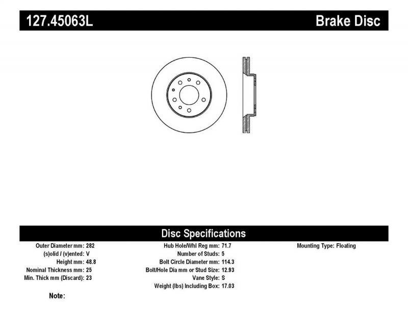StopTech 127.45063L Sport Drilled/Slotted Brake Rotor; Front Left Mazda Mazda 6 Front Left 2003-2005