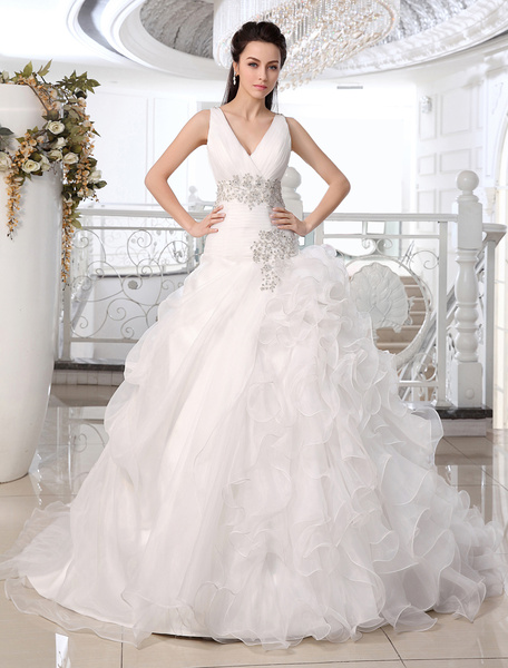Milanoo Wedding Dresses Princess Ball Gown Bridal Dress V Neck Organza Ruffles Tiered Beading Pleated Court Train Wedding Gown