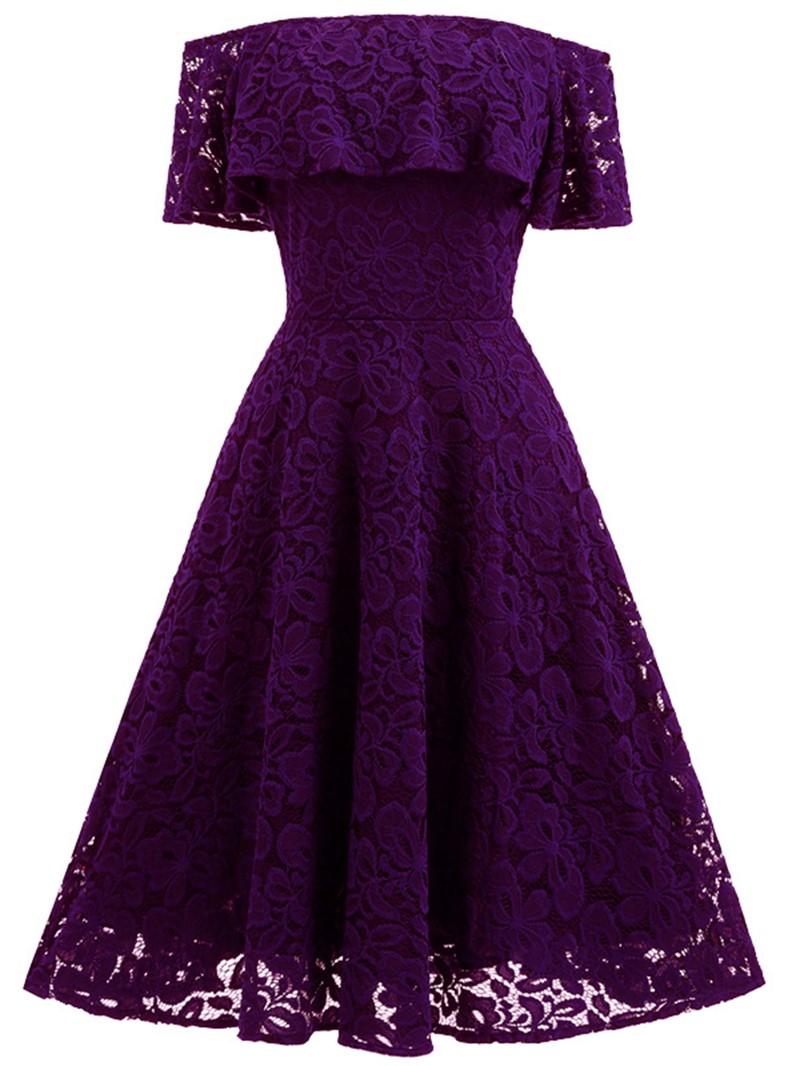 Ericdress Slash Neck Empire Waist Expansion A Line Dress