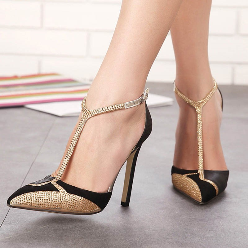 Ericdress	Diamond Color Block Pointed Toe Stiletto Sandals