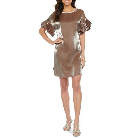 MSK Short Sleeve Embellished Shift Dress, Small , Beige