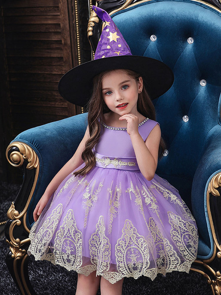 Milanoo Halloween Cosplay Costumes For Kids Red Witch Lace Hot Stamping Dress With Hat for Carnival
