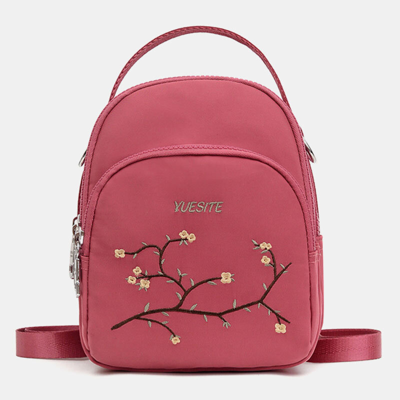 Women Multi-pocket Multi-Carry Embroidery Floral Crossbody Bag Backpack