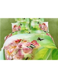 Queen/King Size 3D Pink Daylily and Butterfly 4-Piece Emerald Green Bedding Sets Hidden Zipper Duvet Cover Set with Non-slip Ties