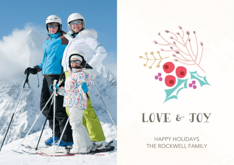 Holiday Photo Cards Flat Matte Photo Paper Cards with Envelopes, 5x7, Card & Stationery -Jolly Love & Joy