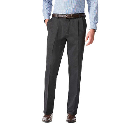 Dockers Men's Relaxed Fit Comfort Khaki Cuffed Pants - Pleated D4, 42 30, Black