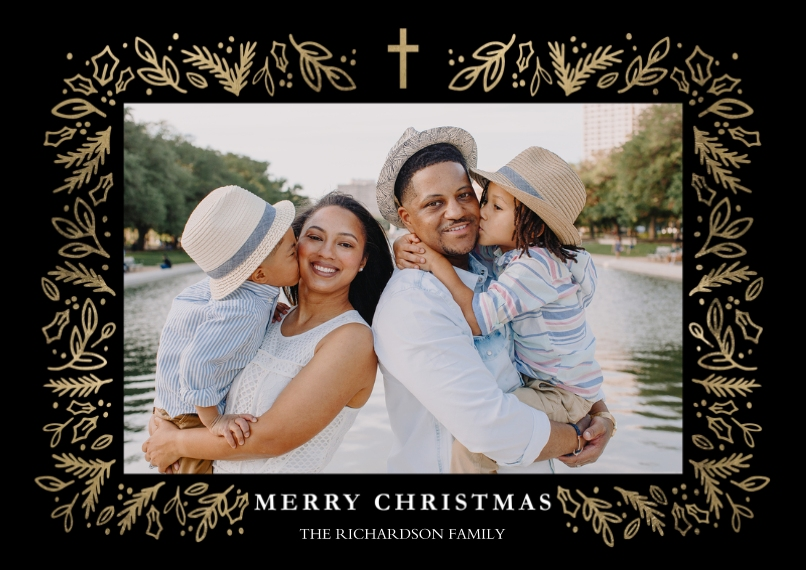 Christmas Photo Cards 5x7 Cards, Premium Cardstock 120lb with Rounded Corners, Card & Stationery -Christmas Cross Gold by Tumbalina