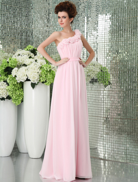 Milanoo Pink One-shoulder Chiffon Floor Length Womens Bridesmaid Dress