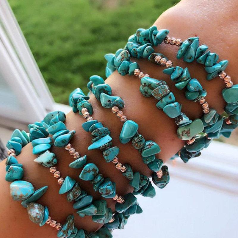 Bohemian Irregular Turquoise Bracelet Natural Crystal Gravel Elastic Anklet Vintage Jewelry