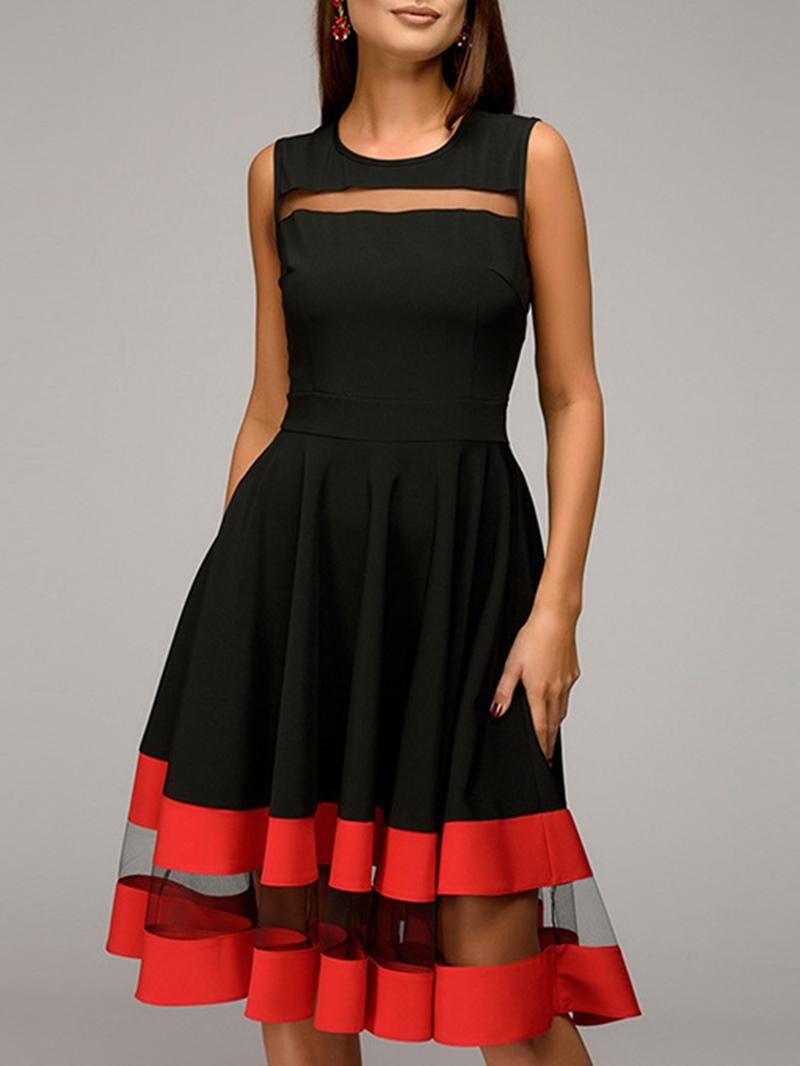 Ericdress Mid-Calf Pullover Sleeveless A-Line Dress