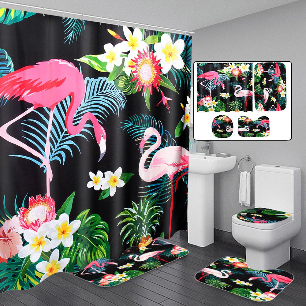 3 PCS Bathroom Carpet Set Toilet Cover Shower Curtain Sets Polyester Fabric