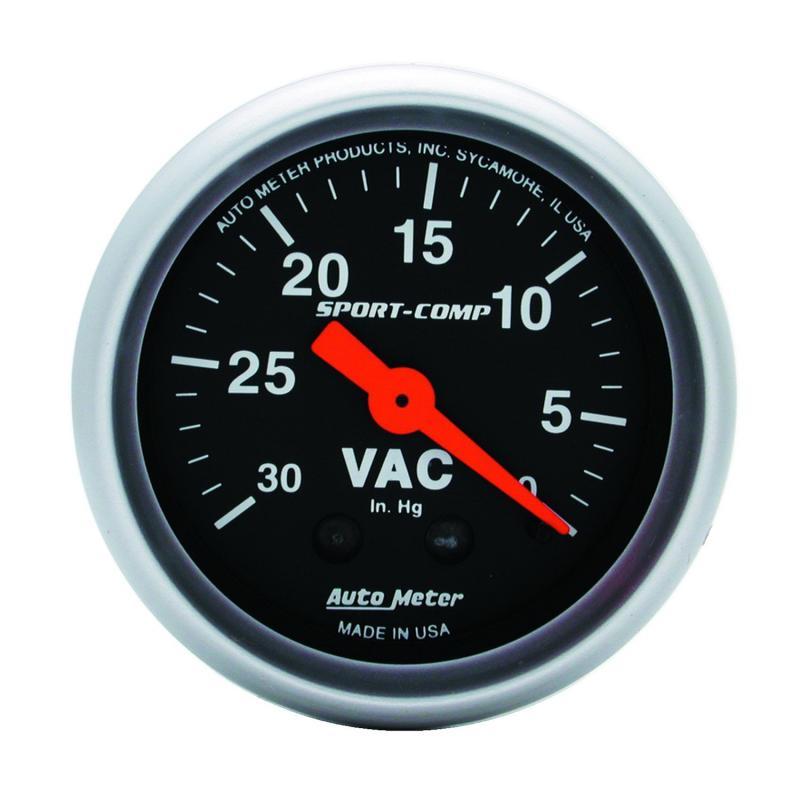 AutoMeter GAUGE; VACUUM; 2 1/16in.; 30INHG; MECHANICAL; SPORT-COMP