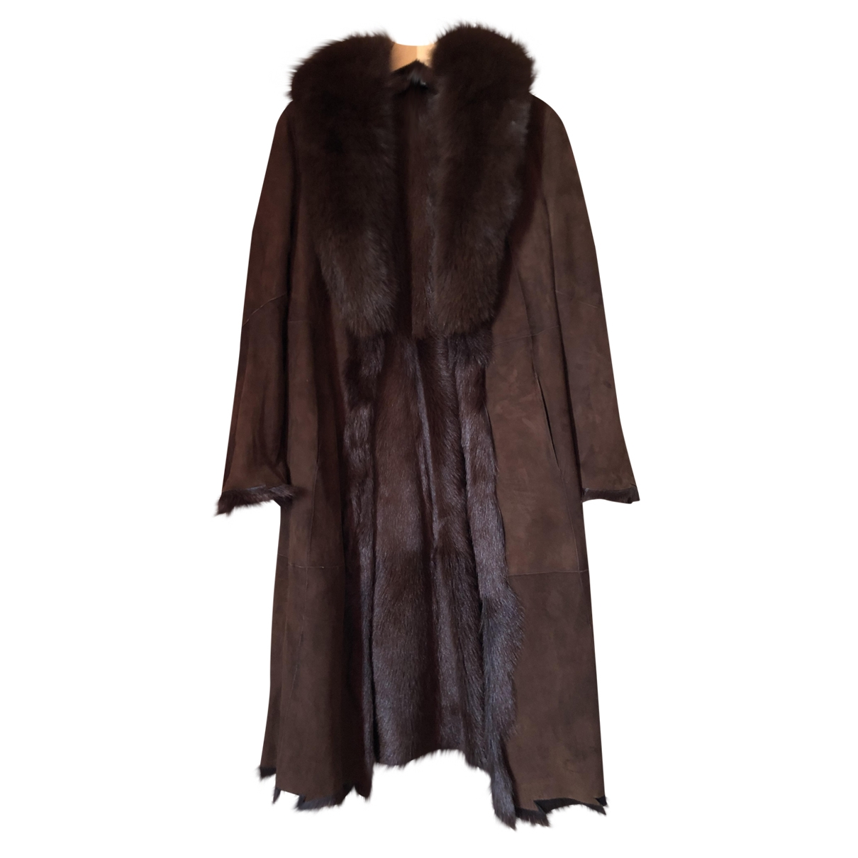Non Signé / Unsigned \N Brown Leather coat for Women 38 IT
