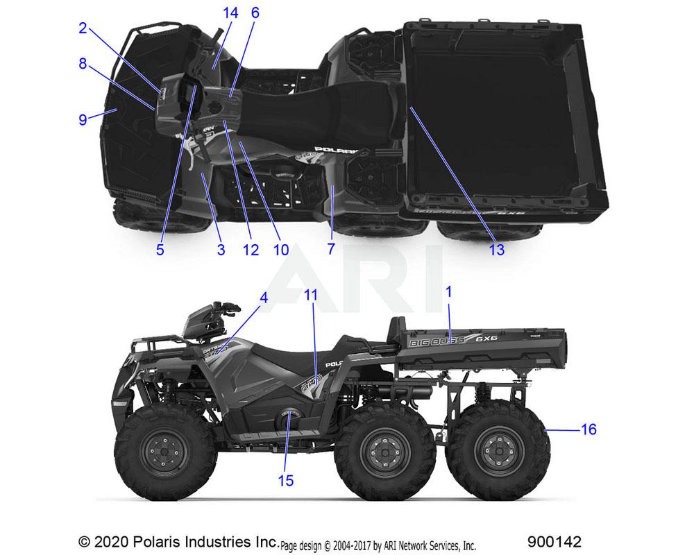 Polaris OEM 7182351 DECAL-WARN, FR RACK, 41