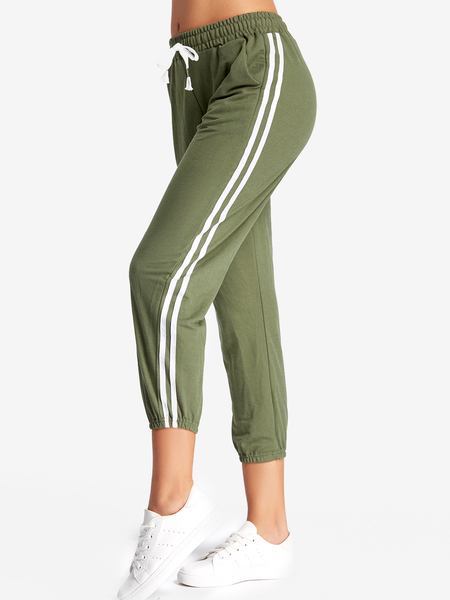 Yoins Army Green Side Pockets Stripe Pants