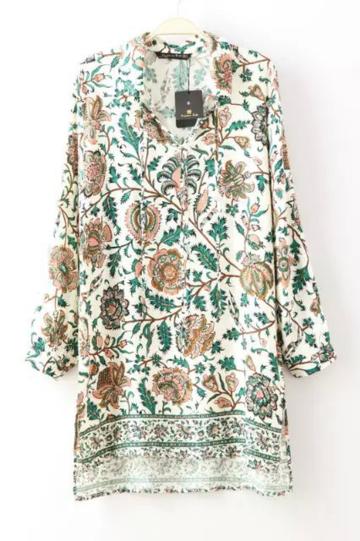 Yoins Floral Midi Dress with Split Side