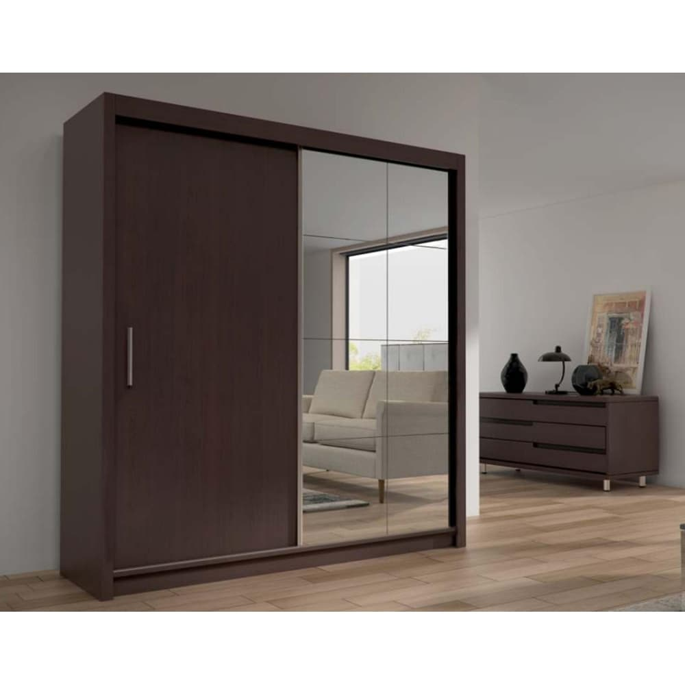 Cedar 2-Door Solid Wood Modern Wardrobe - Armoire with Mirror - Espresso - 59