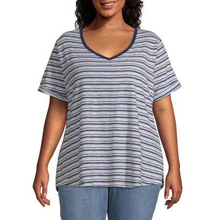 a.n.a-Plus Womens V Neck Short Sleeve T-Shirt, 2x , Multiple Colors