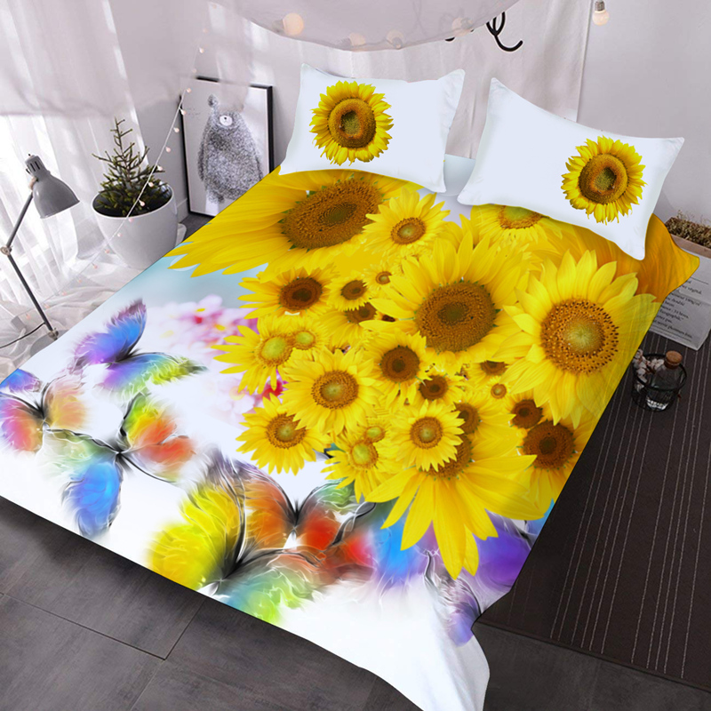 Sunflowers and Butterflies 3Pcs 3D Comforter Set with 2 Pillow Covers Microfiber Wrinkle/Fade Resistant Comforter