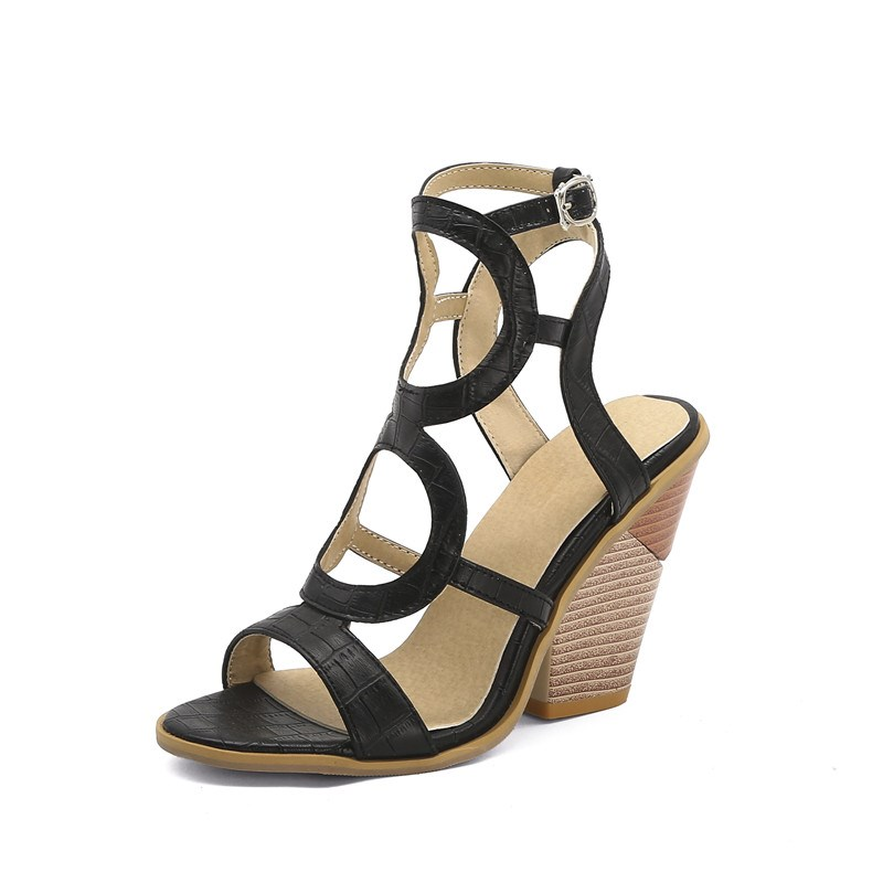 Ericdress Square Toe Buckle Chunky Heel Hollow Sandals