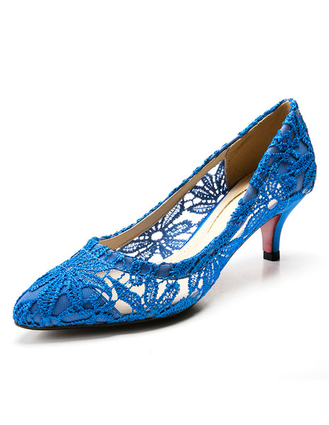 Milanoo Lace Wedding Shoes Pointed High Heel Bridal Shoes