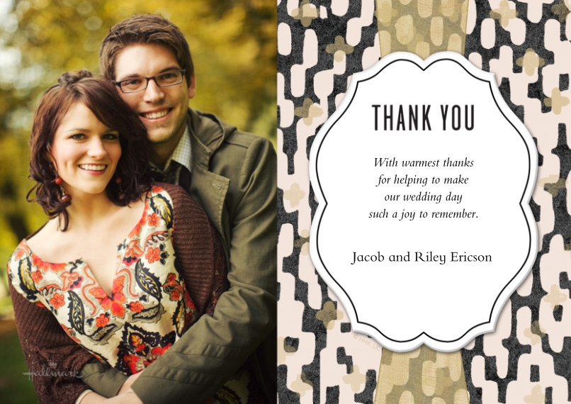 Wedding Thank You Flat Glossy Photo Paper Cards with Envelopes, 5x7, Card & Stationery -Pink Black and Gold Thank You