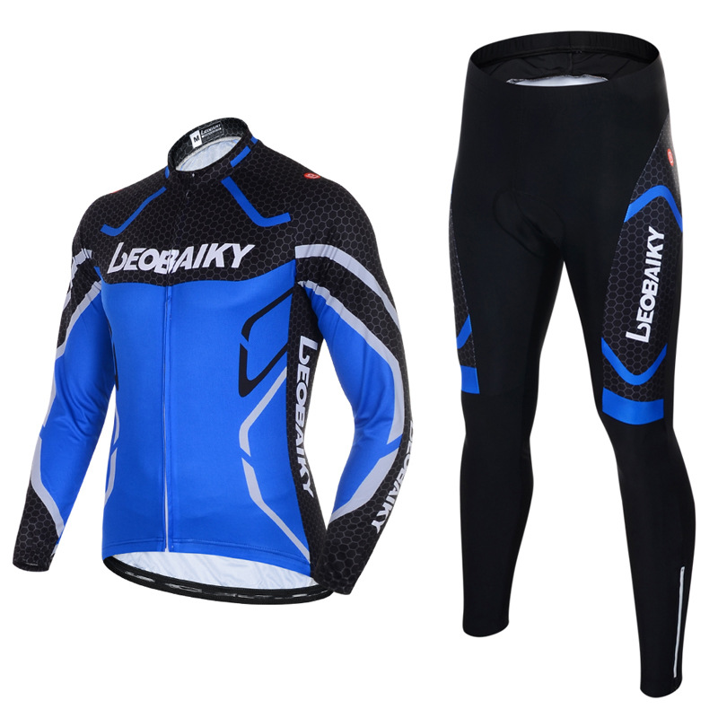 Men's Cycling Clothing Set Breathable Quick Dry Long Sleeve Jersey Sea