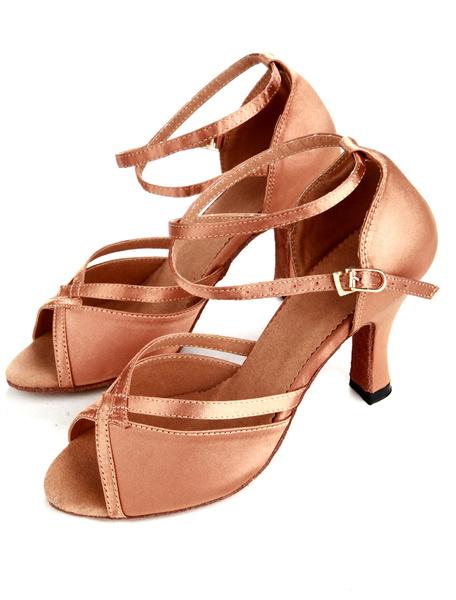 Milanoo Tradition Bronze Satin Women's Latin Dance Shoes