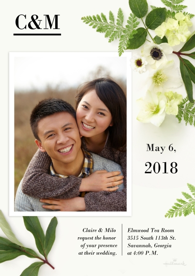 Wedding Invitations Flat Matte Photo Paper Cards with Envelopes, 5x7, Card & Stationery -Floral Photography Invitation