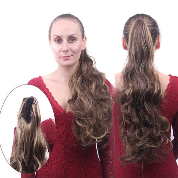 Long Curly Ponytail Clip Flip Hair Tails Multiple ColorHair Extensions Wrap On Hairpieces