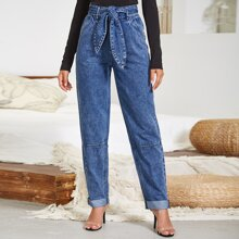 Button Wide Waistband Belted Jeans