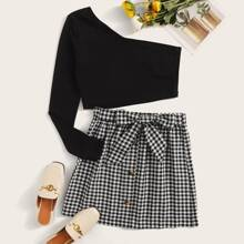 Plus One Shoulder Solid Top & Knot Front Gingham Skirt Set