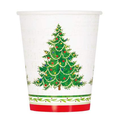 Gobelets en papier de fête classiques pour arbre de Noël, 9 oz, 8 ct
