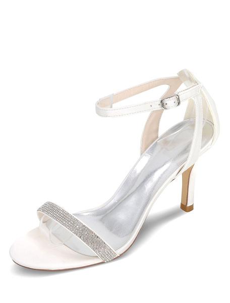 Milanoo Silver Wedding Sandals High Heel Rhinestones Satin Bridal Shoes