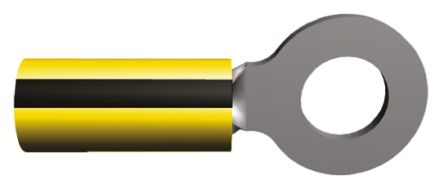 TE Connectivity , PLASTI-GRIP Insulated Crimp Ring Terminal, M6 (1/4) Stud Size, 1mm² to 2.6mm² Wire Size, Yellow (50)