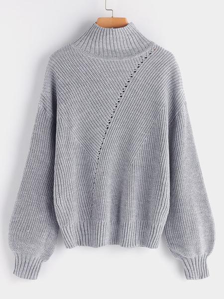 Yoins Grey Hollow Design Plain Tuxedo Collar Long Sleeves Sweaters