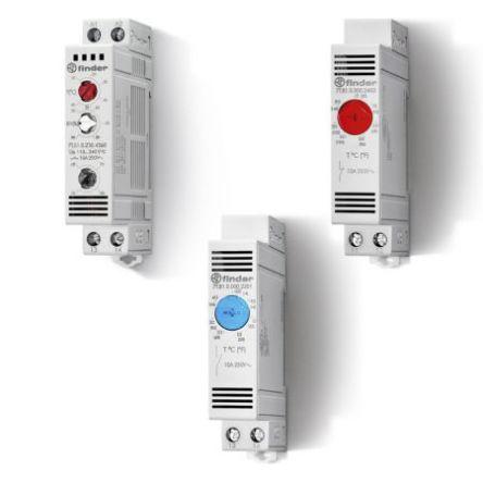 Finder , Enclosure Thermostat, Adjustable, NO, DIN Rail, 110 → 240 V ac/dc