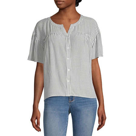 a.n.a Womens Round Neck Short Sleeve Blouse, X-small , Blue