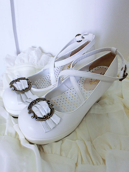 Milanoo Classical Lolita Shoes Ribbon Bow Lolita Chunky Square Heels Shoes With Ankle Strap